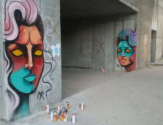 Street Art By Michal Rubin, woman portraits