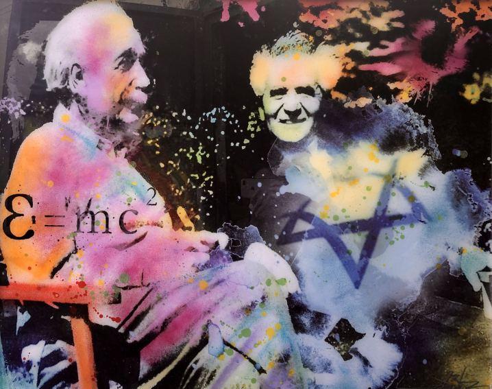 Ben Gurion & Einstein, Painting by Dan Groover
