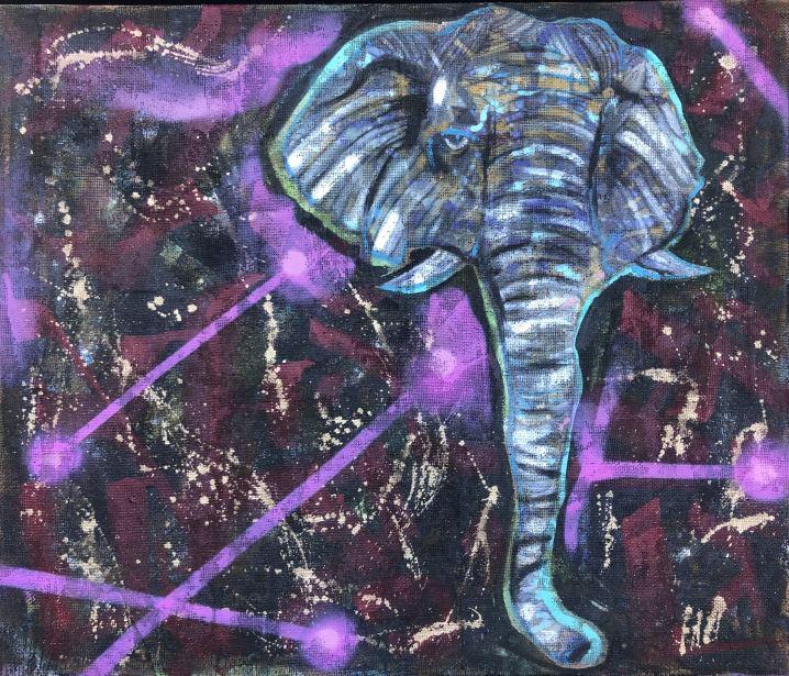 Secret Elephant , Painting by Dan Groover