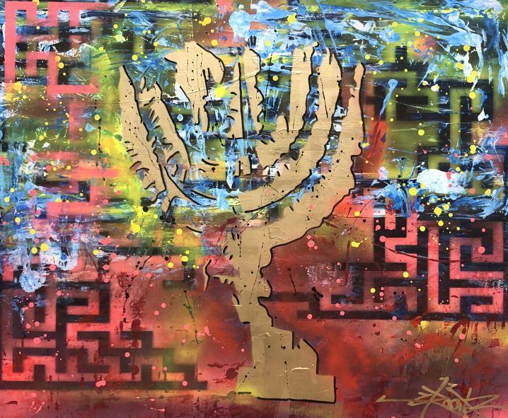 Menora , Painting by Dan Groover