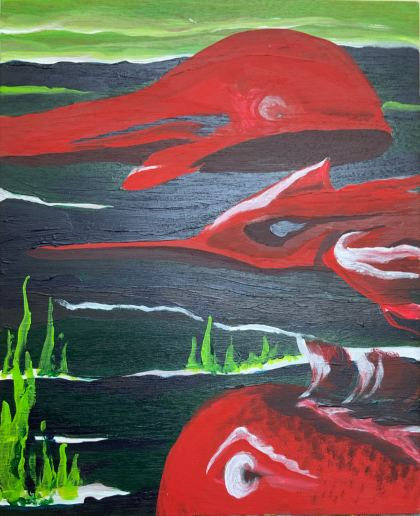 The great sea monsters, Painting by Sasha