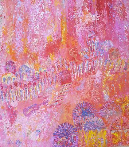Pinky Jerusalem, Peinture by Orli Ziv