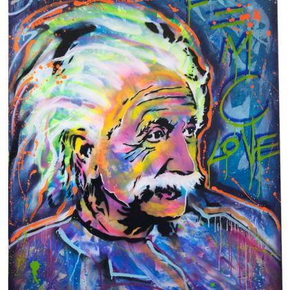 Blue Einstein, Painting by Dan Groover - דן גרובר