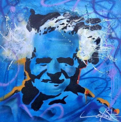 Blue Ben Gurion , Painting by Dan Groover - דן גרובר