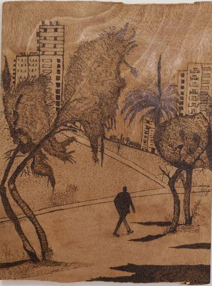 Walking Man, Painting by Ruth Rachel Cymberg